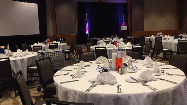 The calm before the storm: The tables are set, and all that's left is the attendees!