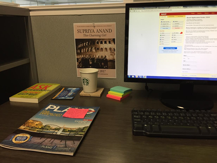 Another day at the office at my cubicle! This day I was analyzing the previous Plano Community Guides so I could brainstorm some ideas for the 2018 Guide.