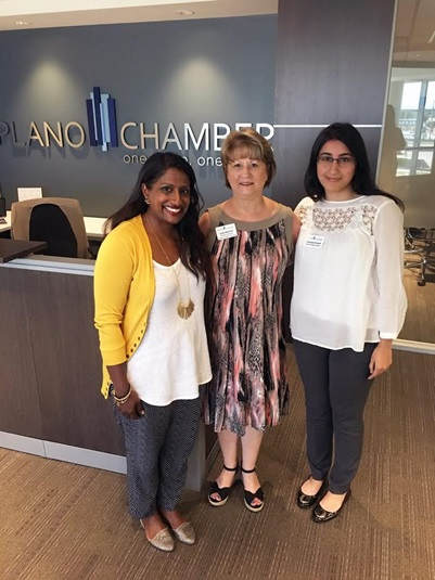 (From left to right) Alice Michael, Judy Webster, and Supriya Anand ready to take on business at the Plano Chamber!
